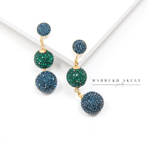 Blue and emerald green Swarovski ball earrings