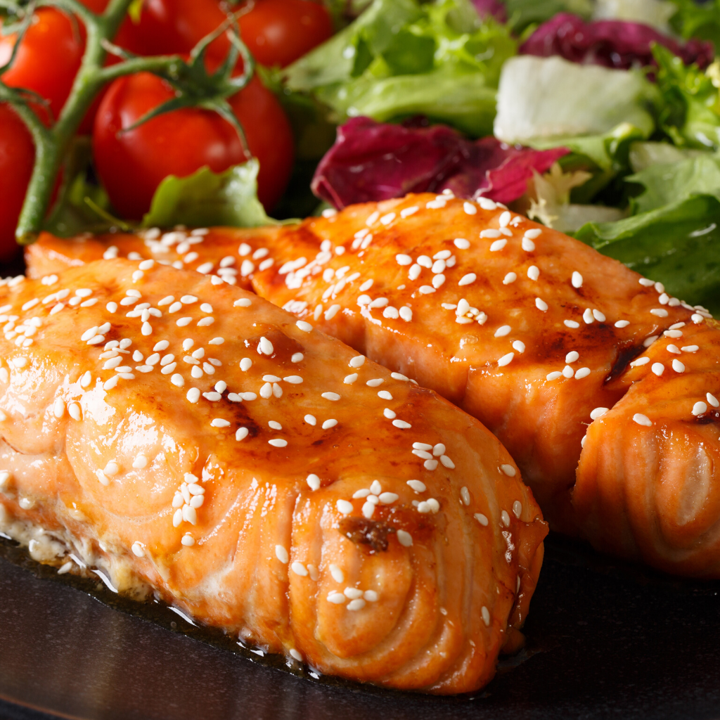 Manuka Glazed Salmon Salad