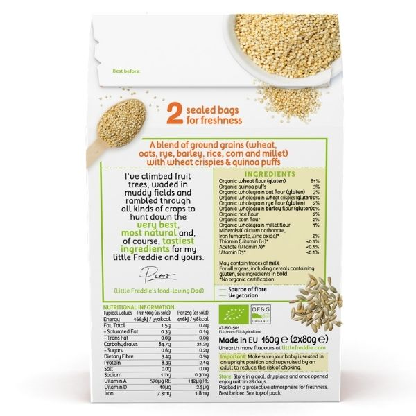 Little Freddie Organic 7 Grain Porridge with Quinoa Puffs - 160g