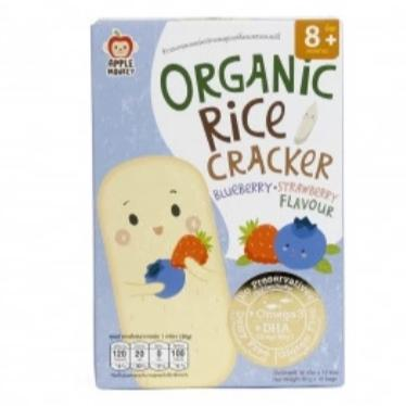 Apple Monkey Organic Rice Cracker - Blueberry & Strawberry  30g DHA - (10x3g)