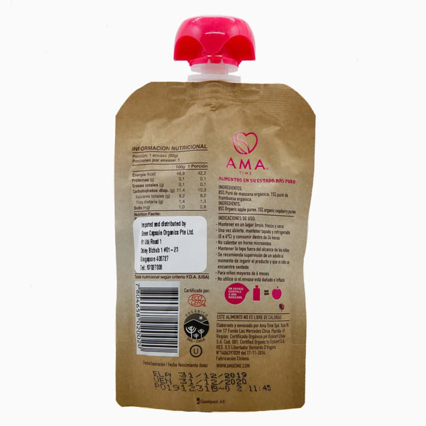 AMA Time Organic Apple & Raspberry Puree (6m+) [EXP 12 FEB 2021]