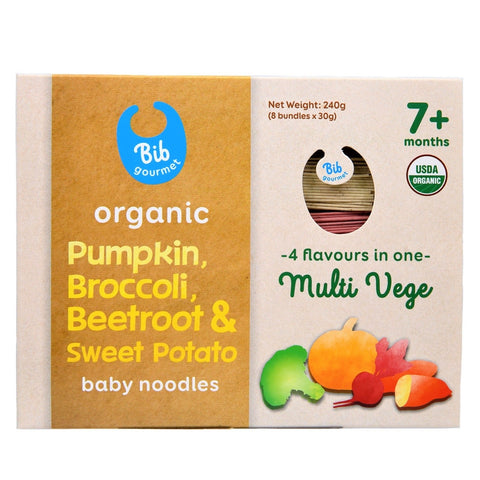 Bib Gourmet Organic Pumpkin, Broccoli, Beetroot & Sweet Potato Baby Noodles (30g x 8)