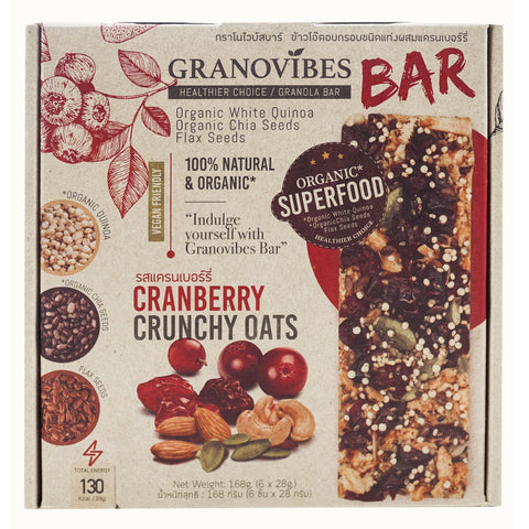 Granovibes Cranberry Crunchy Oats Granola Bar (Box - 28g x 6) [EXP 10 FEB 2021]
