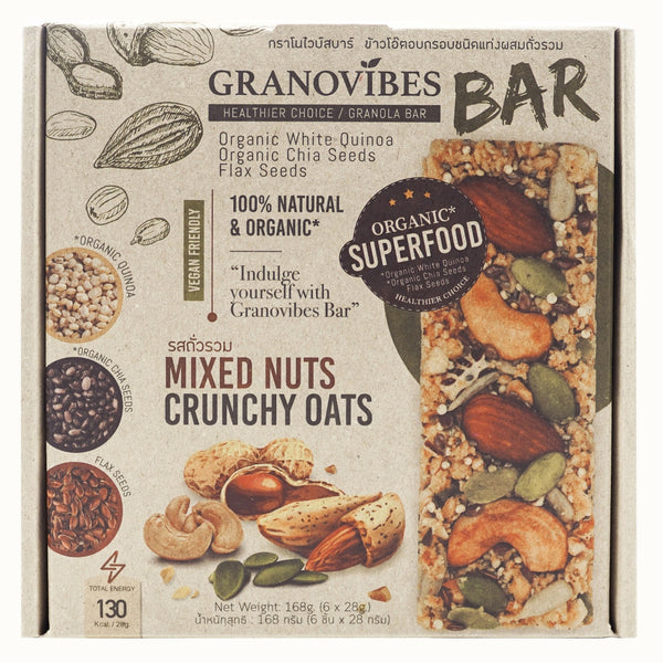 Granovibes Mixed Nuts Crunchy Oats Granola Bar 28g (Box - 28g x 6)