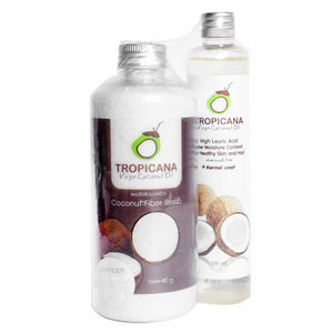 Tropicana Coconut Fiber Scrub + Organic Cold Pressed Virgin Coconut Oil 100ml