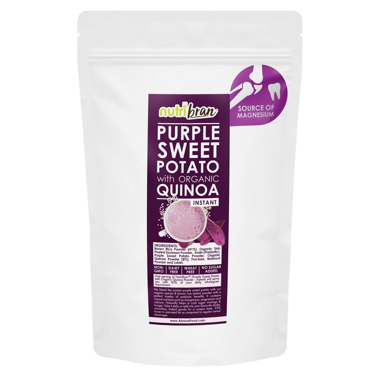 NutriBran Purple Sweet Potato with Organic Quinoa Instant Powder - 300g