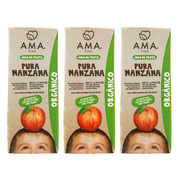 AMA Time Organic Apple Juice 200ml - Pack of 3 [EXP 5 JUNE 2021]
