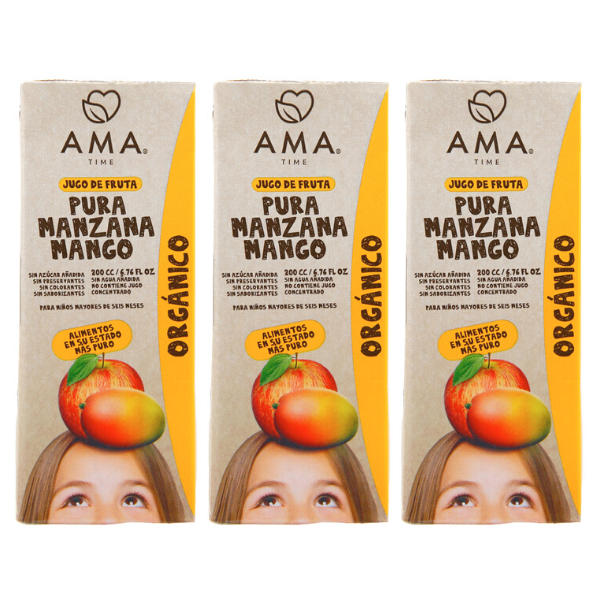 AMA Time Organic Mango and Apple Juice 200ml - Bundle of 3 [EXP 2 MAR 2021]