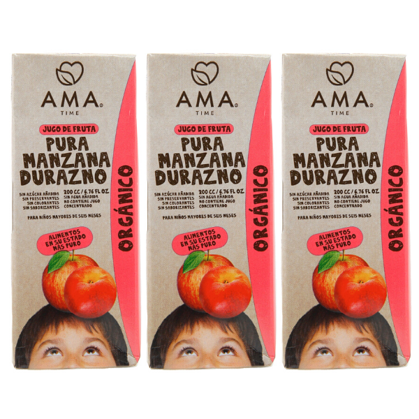 AMA Time Organic Peach and Apple Juice 200ml - Bundle of 3