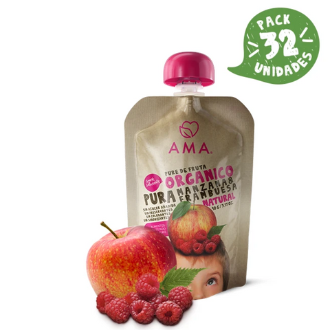 AMA Time Organic Apple & Raspberry Puree (6m+)