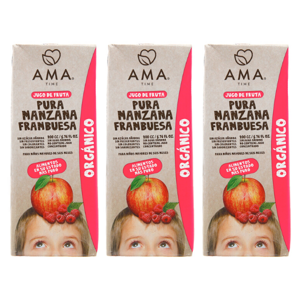 AMA Time Organic Raspberry and Apple Juice - Bundle of 3 [EXP 6 MAR 21]