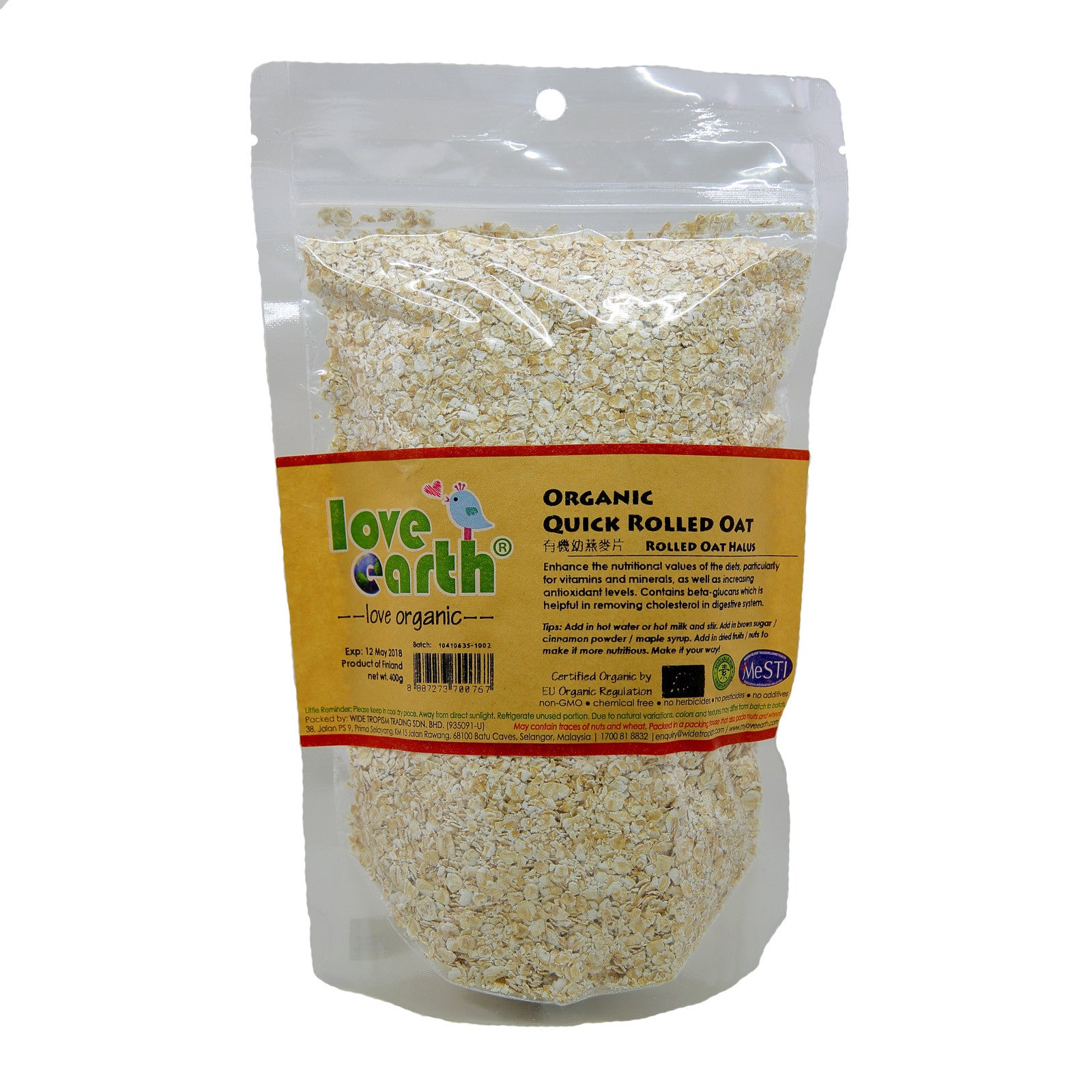 Love Earth Organic Rolled Oat - Quick Rolled Oat - 400g