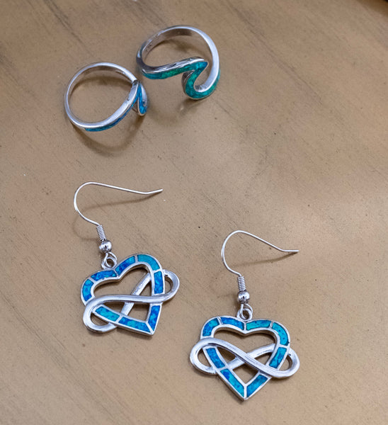 Infinite Opal Heart Earrings - Blue Opal