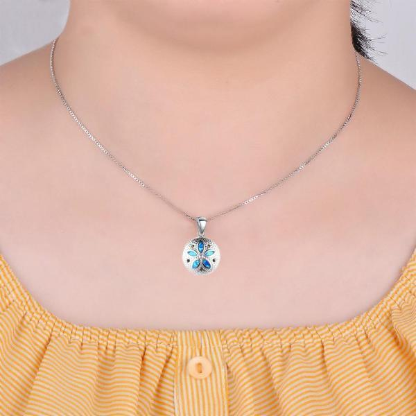 Blue Opal Sand Dollar Pendant - Madison Ashley