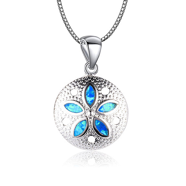 Blue Opal Sand Dollar Necklace