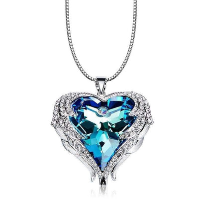Blue Angel Heart Necklace