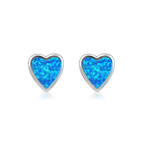 Mini Opal Filled Heart Studs
