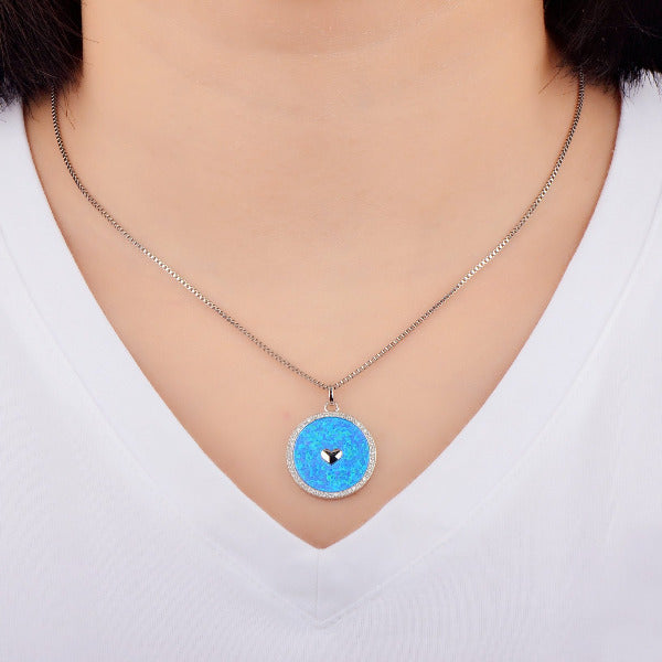 Opal Filled Circle Heart Necklace