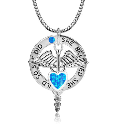 She Believed Caduceus Charm Necklace