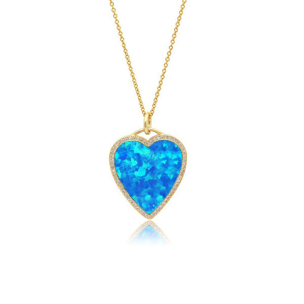 Opal Filled Heart Necklace