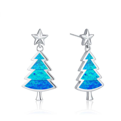 Little Christmas Tree Earrings (Blue Opal)
