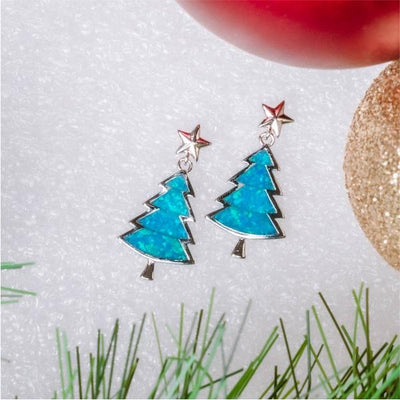Little Christmas Tree Earrings (Blue Opal) - Blue Opal