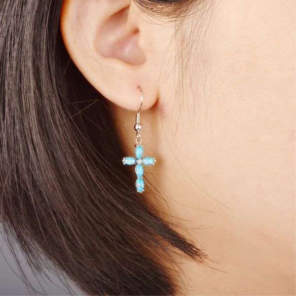 Blue Fire Cross Earrings