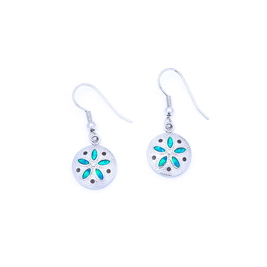 Blue Opal Sand Dollar Earrings
