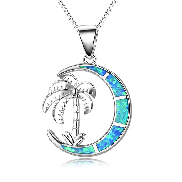 Crescent Moon Palm Tree Necklace