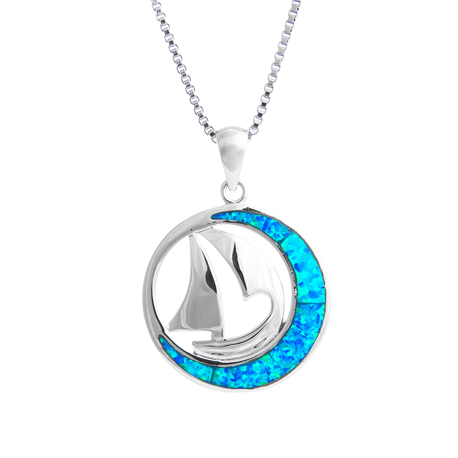 Crescent Moon Sailing Necklace