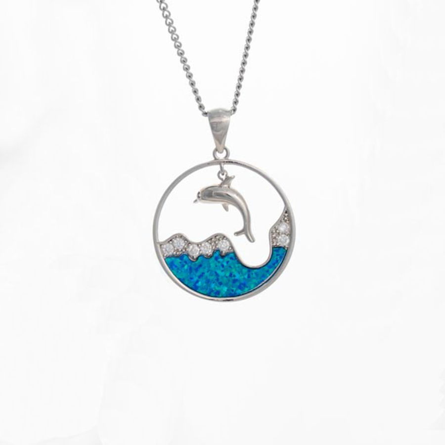 Crystal Wave Dolphin Necklace