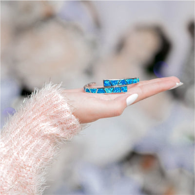 Double Layer Opal Cuff - Blue Opal