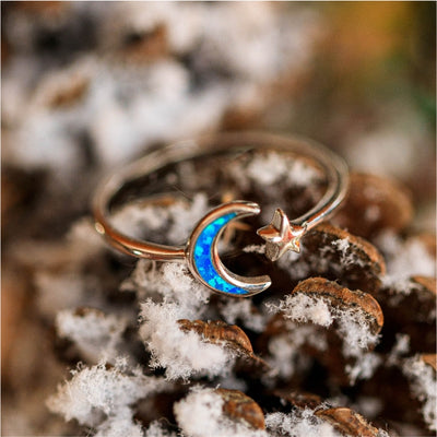 Half Moon Star Ring - Blue Opal