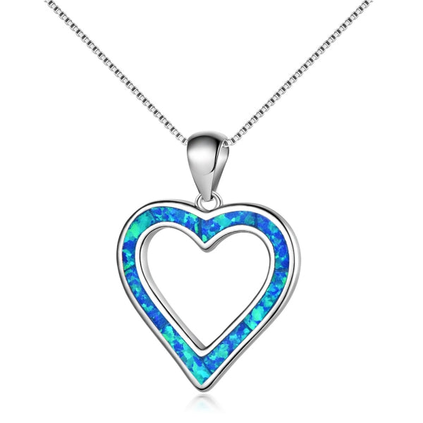 Hollow Heart Pendant - Blue Opal