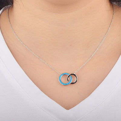 Interlacing Circles Pendant - Blue Opal