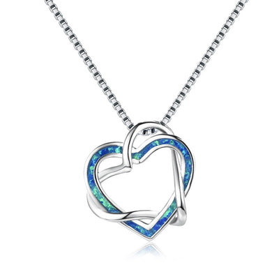 Intertwining Heart Necklace - Blue Opal
