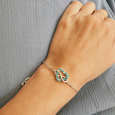 Infinite Opal Heart Bracelet - Blue Opal