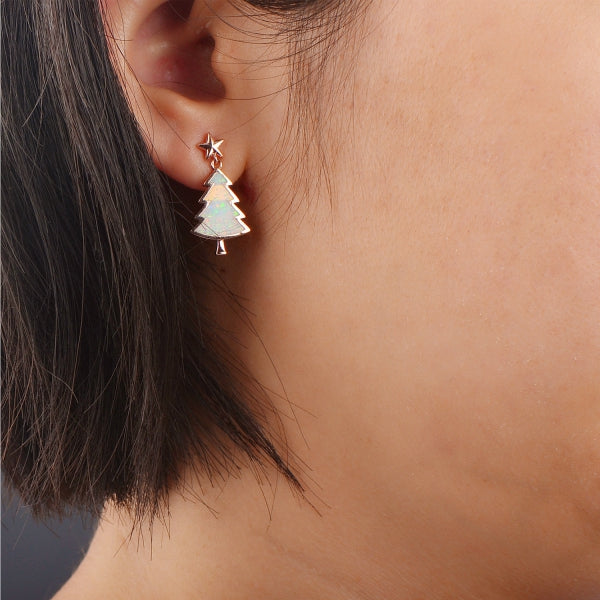 Little Christmas Tree Earrings (White Opal) - Blue Opal