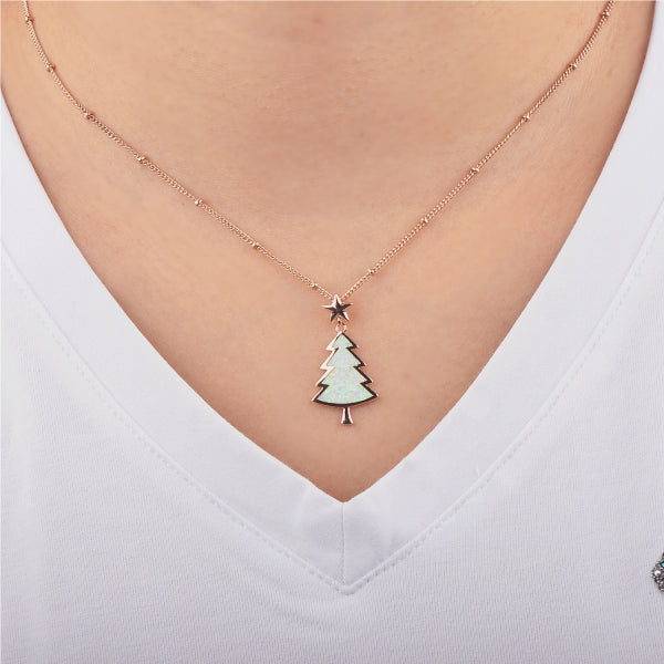 Little Christmas Tree Necklace (White)