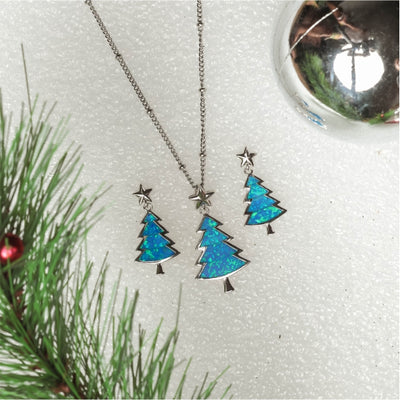 Little Christmas Tree Necklace (Blue Opal)