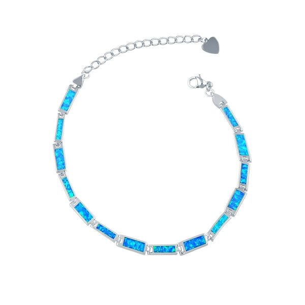 Multi Opal Bar Bracelet - Blue Opal