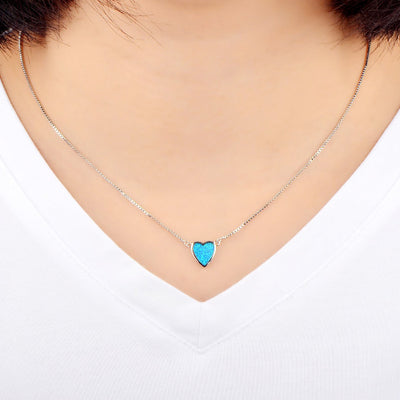 Mini Opal Filled Heart Necklace
