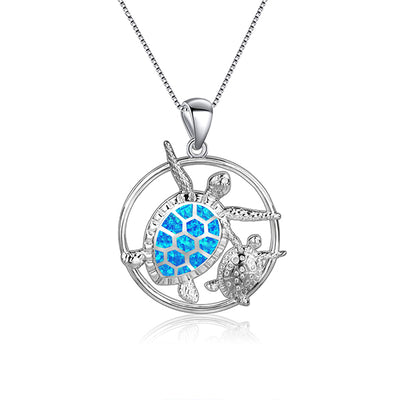 Mama Sea Turtle Circle Necklace