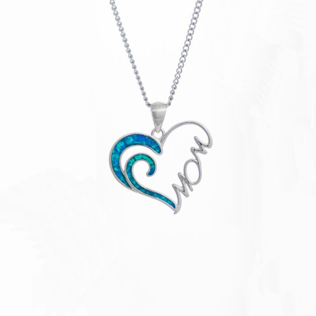 Opal Heart Mom Necklace