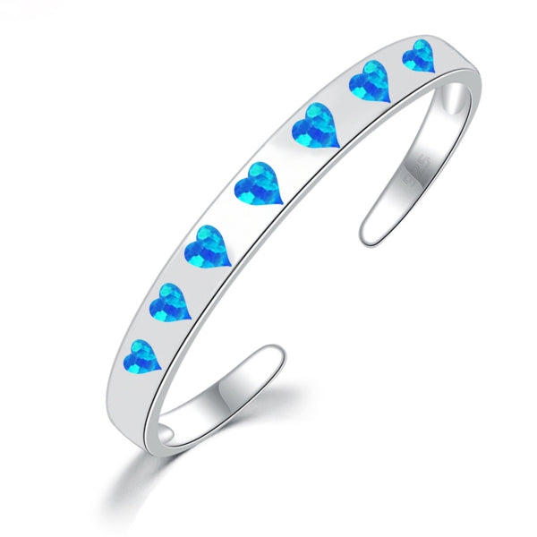 Opal Inlay Heart Cuff