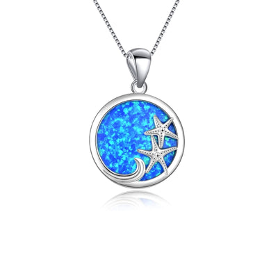 Sea Star Circle Necklace - Blue Opal