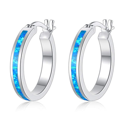 Thin Opal Hoops - Blue Opal