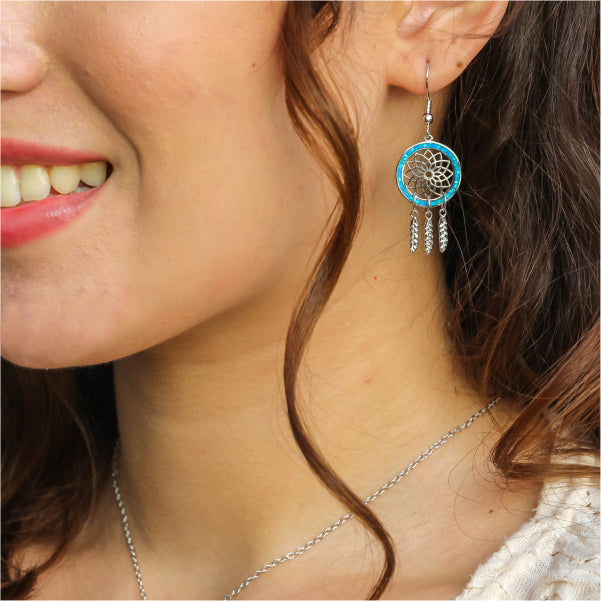 Dream Catcher Earrings - Blue Opal