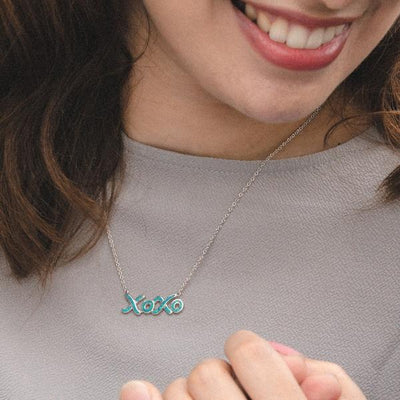 XOXO Necklace - Blue Opal