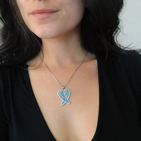 Angel Wing Pendant - Blue Opal